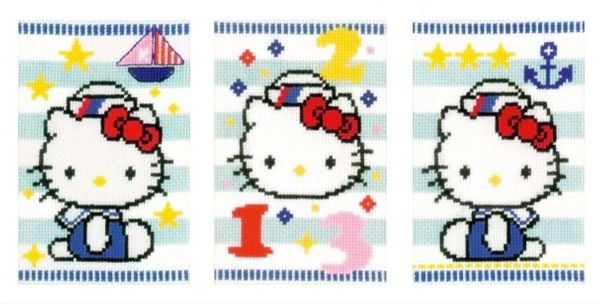 Hello Kitty Marine Greetings Cards Cross Stitch Kit